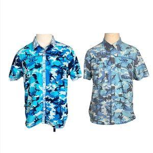 Bar lll Short Sleeve Blue Camo Shirt XXL Men's